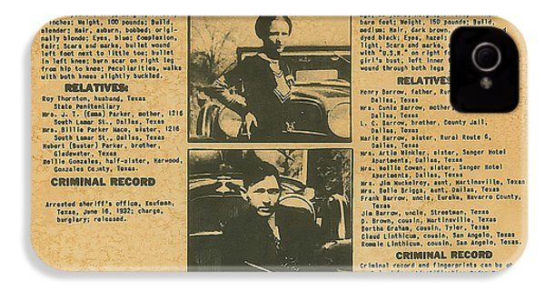 Wanted Poster - Bonnie And Clyde 1934 IPhone 4 Case by F B I