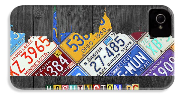 Washington Dc Skyline Recycled Vintage License Plate Art IPhone 4 / 4s Case by Design Turnpike