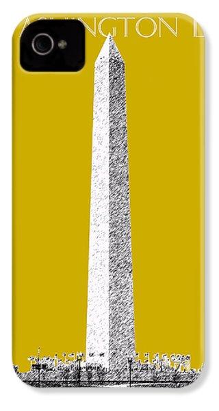 Washington Dc Skyline Washington Monument - Gold IPhone 4 Case by DB Artist