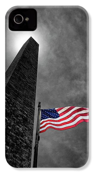 Washington Monument And The Stars And Stripes IPhone 4 Case by Andrew Soundarajan