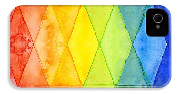 Watercolor Rainbow Pattern Geometric Shapes Triangles IPhone 4 Case by Olga Shvartsur
