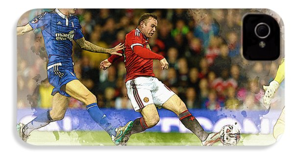 Wayne Rooney Of Manchester United Scores IPhone 4 Case by Don Kuing