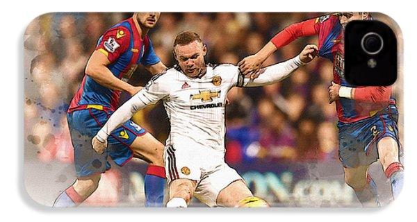Wayne Rooney Shoots At Goal IPhone 4 / 4s Case by Don Kuing