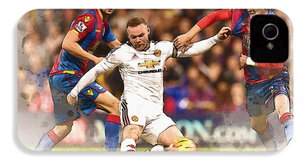 Wayne Rooney Shoots At Goal IPhone 4 Case by Don Kuing