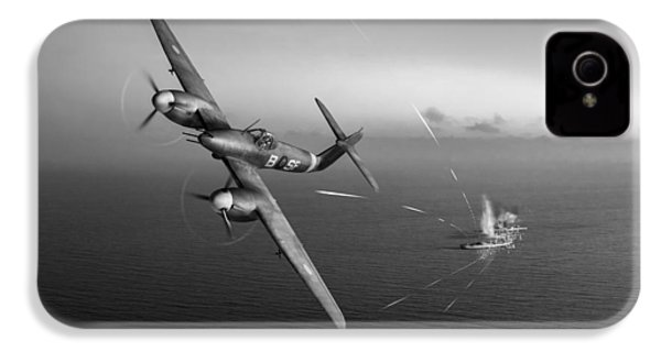 IPhone 4 Case featuring the photograph Westland Whirlwind Attacking E-boats Black And White Version by Gary Eason