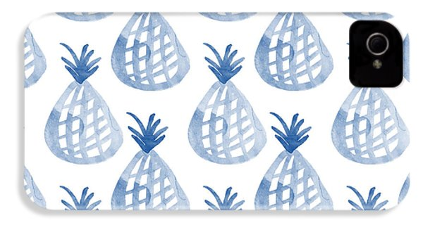 White And Blue Pineapple Party IPhone 4 Case by Linda Woods