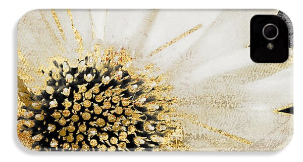 White And Gold Daisy IPhone 4 Case by Mindy Sommers