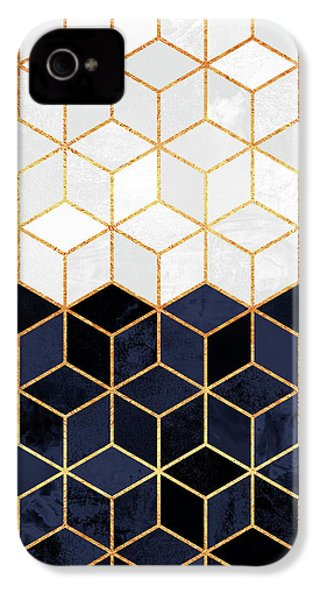 White And Navy Cubes IPhone 4 Case by Elisabeth Fredriksson
