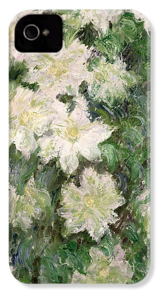 White Clematis IPhone 4 / 4s Case by Claude Monet