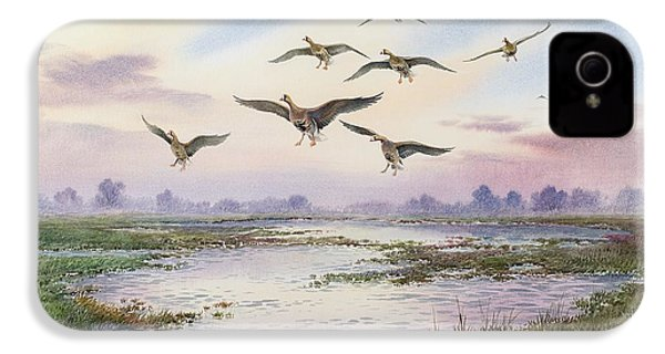 White-fronted Geese Alighting IPhone 4 Case by Carl Donner