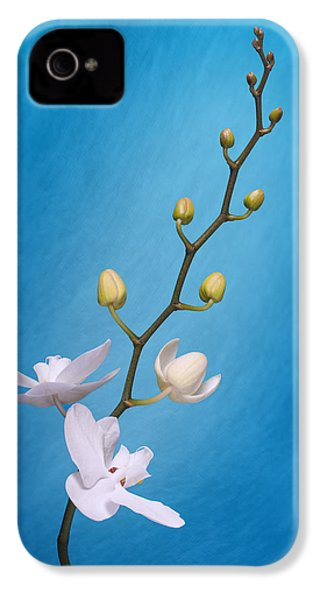 White Orchid Buds On Blue IPhone 4 Case by Tom Mc Nemar