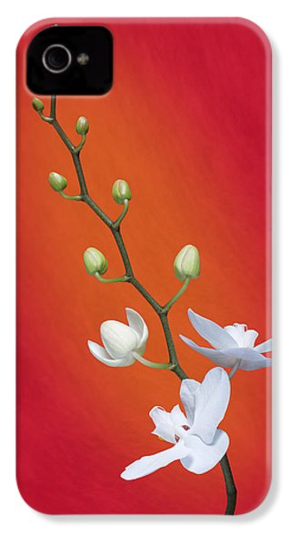 White Orchid Buds On Red IPhone 4 Case by Tom Mc Nemar