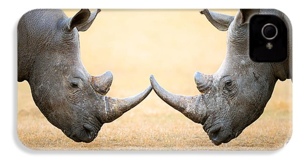 White Rhinoceros  Head To Head IPhone 4 / 4s Case by Johan Swanepoel