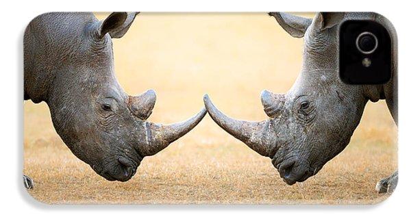 White Rhinoceros  Head To Head IPhone 4 Case by Johan Swanepoel