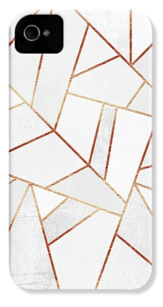 White Stone And Copper Lines IPhone 4 Case by Elisabeth Fredriksson