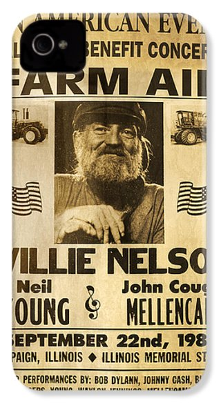 Willie Nelson Neil Young 1985 Farm Aid Poster IPhone 4 Case by John Stephens