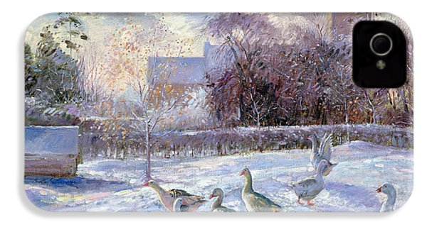 Winter Geese In Church Meadow IPhone 4 Case by Timothy Easton