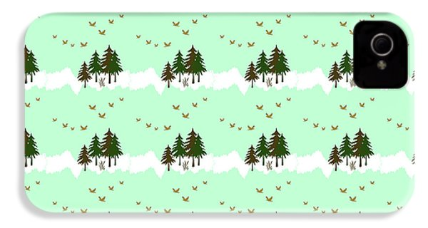 IPhone 4 Case featuring the mixed media Winter Woodlands Bird Pattern by Christina Rollo