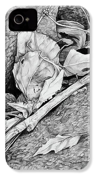 IPhone 4 Case featuring the drawing Withered Leaves by Aaron Spong
