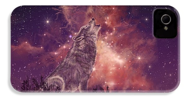 Wolf And Sky Red IPhone 4 Case by Bekim Art