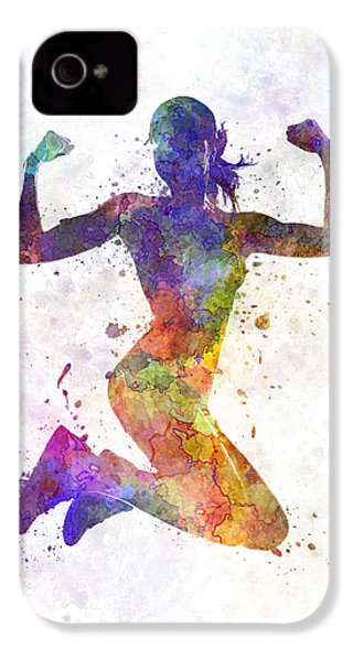 Woman Runner Jogger Jumping Powerful IPhone 4 Case