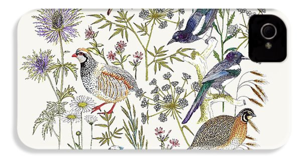 Woodland Edge Birds Placement IPhone 4 Case by Jacqueline Colley