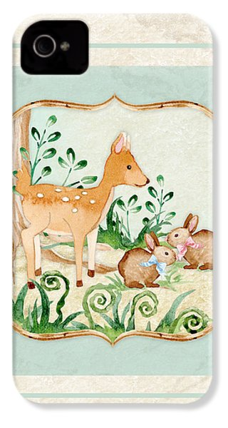 Woodland Fairy Tale - Deer Fawn Baby Bunny Rabbits In Forest IPhone 4 Case by Audrey Jeanne Roberts