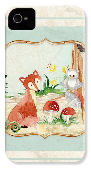 Woodland Fairy Tale - Fox Owl Mushroom Forest IPhone 4 Case