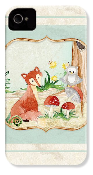 Woodland Fairy Tale - Fox Owl Mushroom Forest IPhone 4 / 4s Case by Audrey Jeanne Roberts