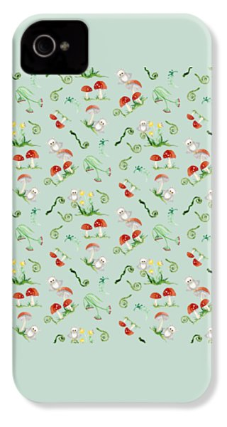 Woodland Fairy Tale - Red Mushrooms N Owls IPhone 4 / 4s Case by Audrey Jeanne Roberts
