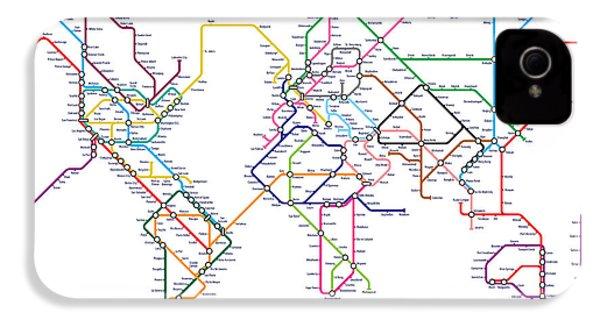 World Metro Tube Map IPhone 4 Case by Michael Tompsett