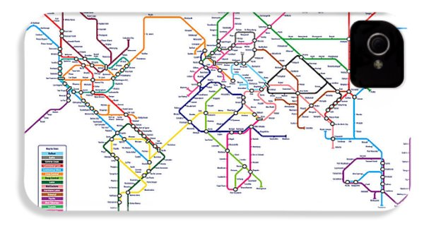 World Metro Tube Subway Map IPhone 4 Case by Michael Tompsett