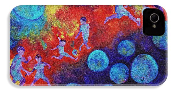 IPhone 4 Case featuring the painting World Soccer Dreams by Claire Bull