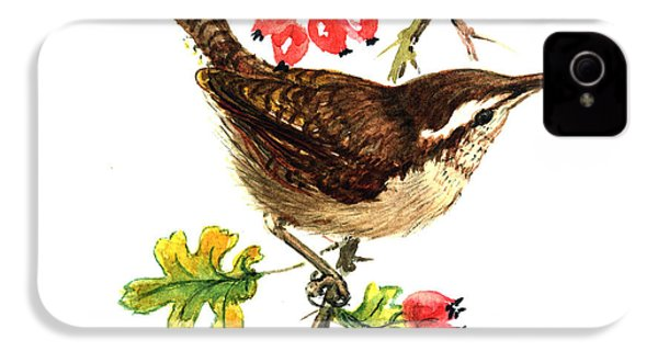 Wren And Rosehips IPhone 4 Case by Nell Hill
