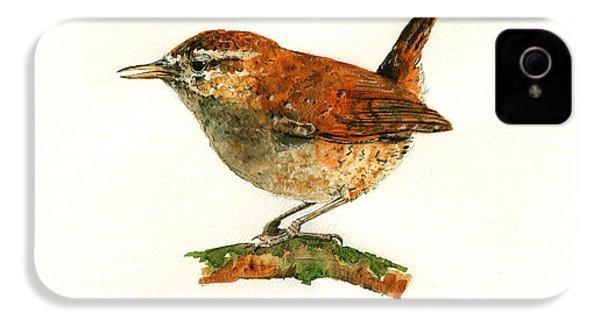 Wren Bird Art Painting IPhone 4 Case by Juan  Bosco