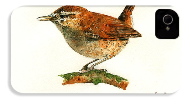 Wren Bird Art Painting IPhone 4 Case by Juan  Bosco