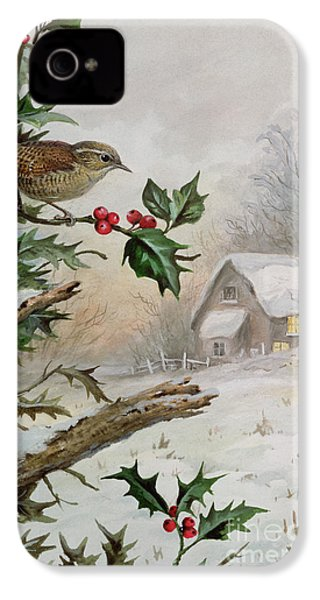 Wren In Hollybush By A Cottage IPhone 4 Case by Carl Donner
