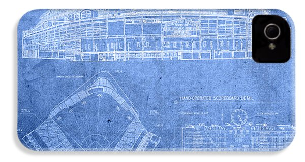 Wrigley Field Chicago Illinois Baseball Stadium Blueprints IPhone 4 / 4s Case by Design Turnpike