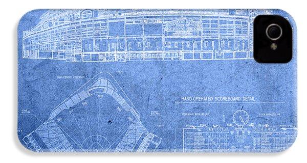 Wrigley Field Chicago Illinois Baseball Stadium Blueprints IPhone 4 Case by Design Turnpike