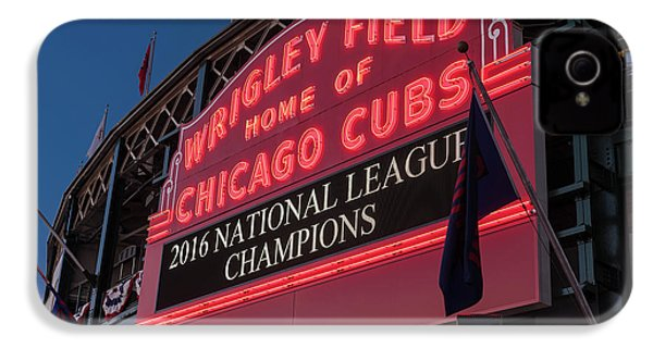 Wrigley Field Marquee Cubs National League Champs 2016 IPhone 4 / 4s Case by Steve Gadomski