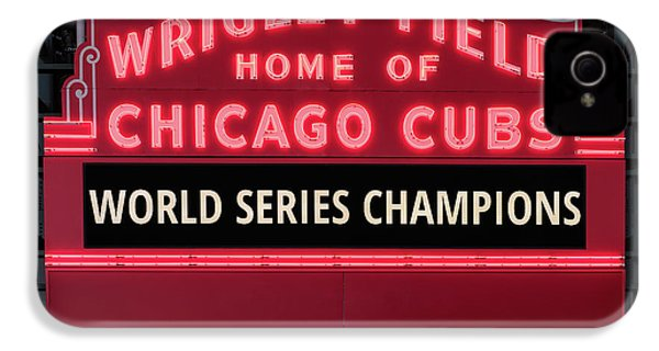 Wrigley Field Marquee Cubs World Series Champs 2016 Front IPhone 4 Case by Steve Gadomski