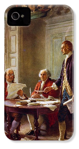 Writing The Declaration Of Independence, 1776, IPhone 4 Case by Leon Gerome Ferris