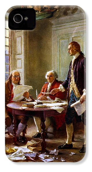Writing The Declaration Of Independence IPhone 4 Case by War Is Hell Store