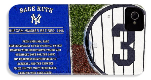 Yankee Legends Number 3 IPhone 4 / 4s Case by David Lee Thompson