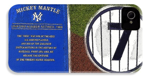 Yankee Legends Number 7 IPhone 4 Case by David Lee Thompson