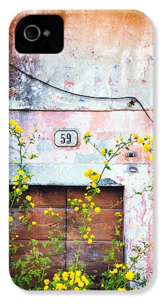 IPhone 4 Case featuring the photograph Yellow Flowers And Decayed Wall by Silvia Ganora