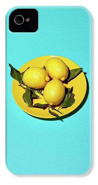 Yellow Lemons On Cyan IPhone 4 Case by Oleg Cherneikin