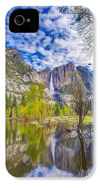 Yosemite Falls In Spring Reflection IPhone 4 Case