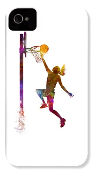 Young Woman Basketball Player 04 In Watercolor IPhone 4 Case by Pablo Romero