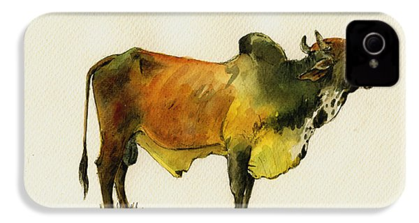 Zebu Cattle Art Painting IPhone 4 Case by Juan  Bosco